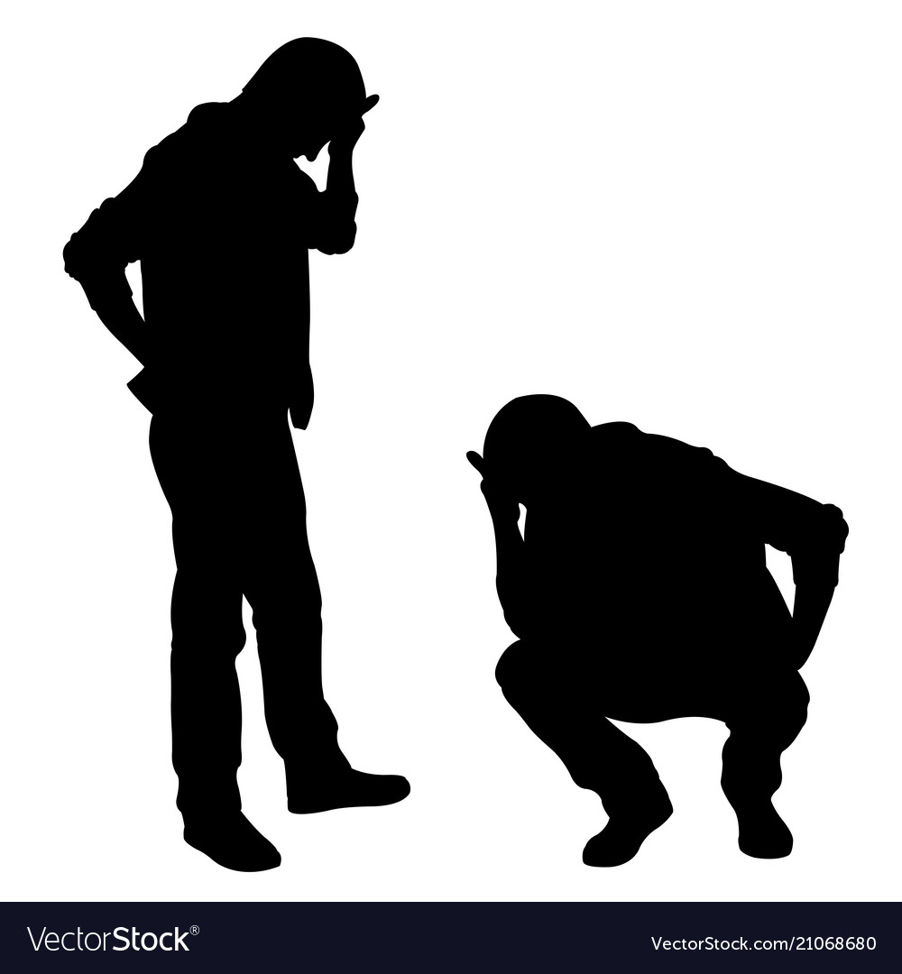 Silhouettes of sad men