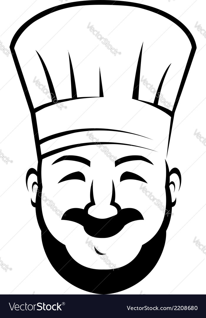 Smiling chef with a beard and moustache