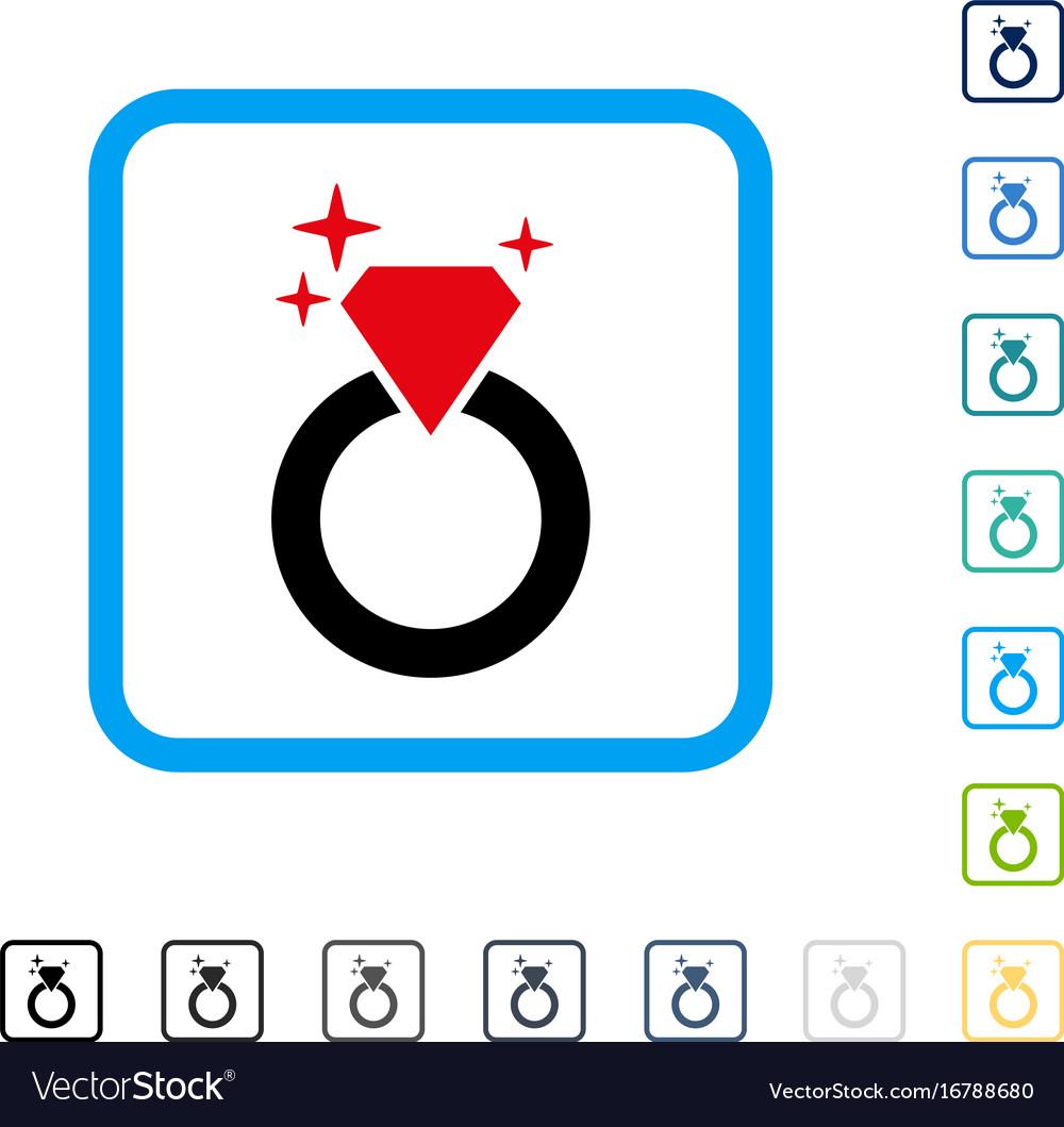 Sparkle diamond ring framed icon vector image