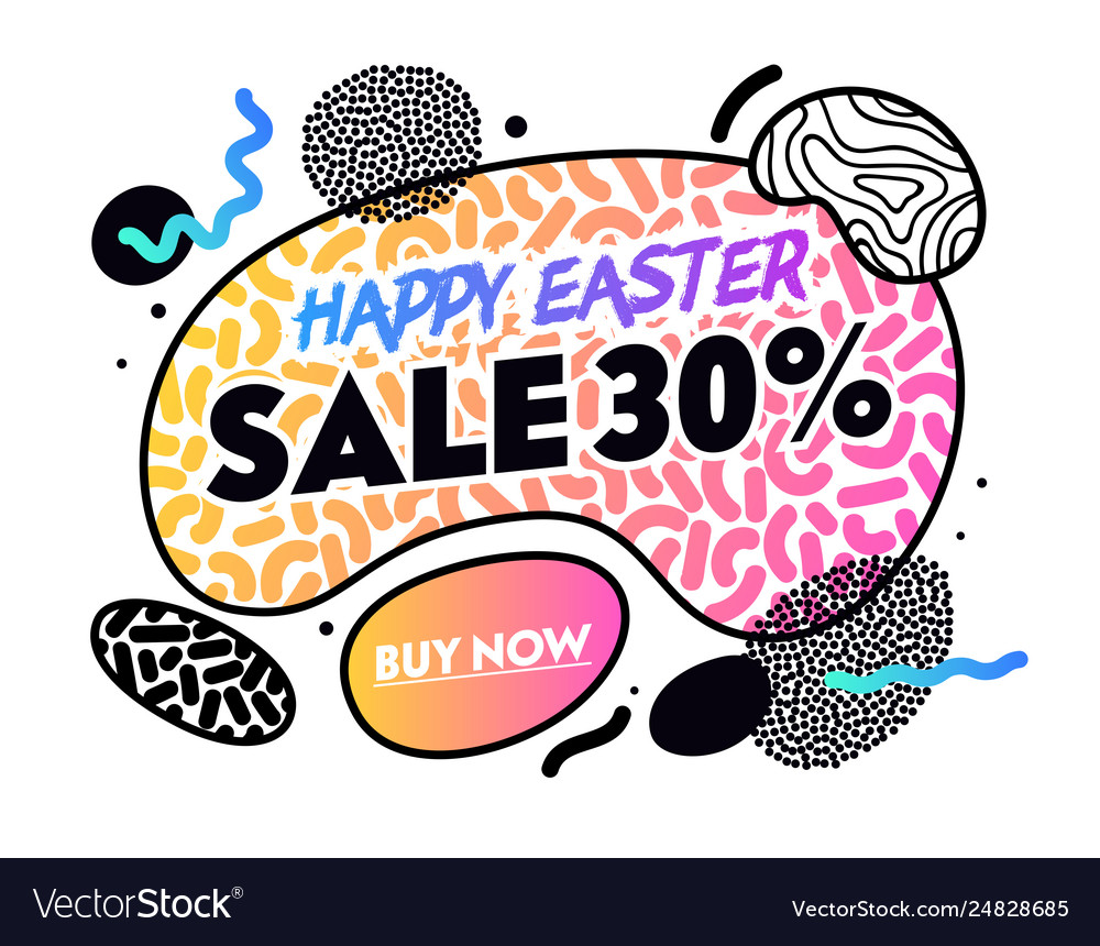Happy easter sale banner with abstract shapes