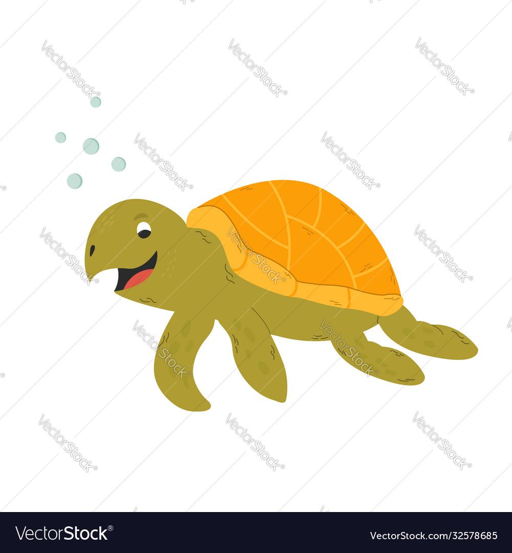 Happy smiling turtle isolated on white background
