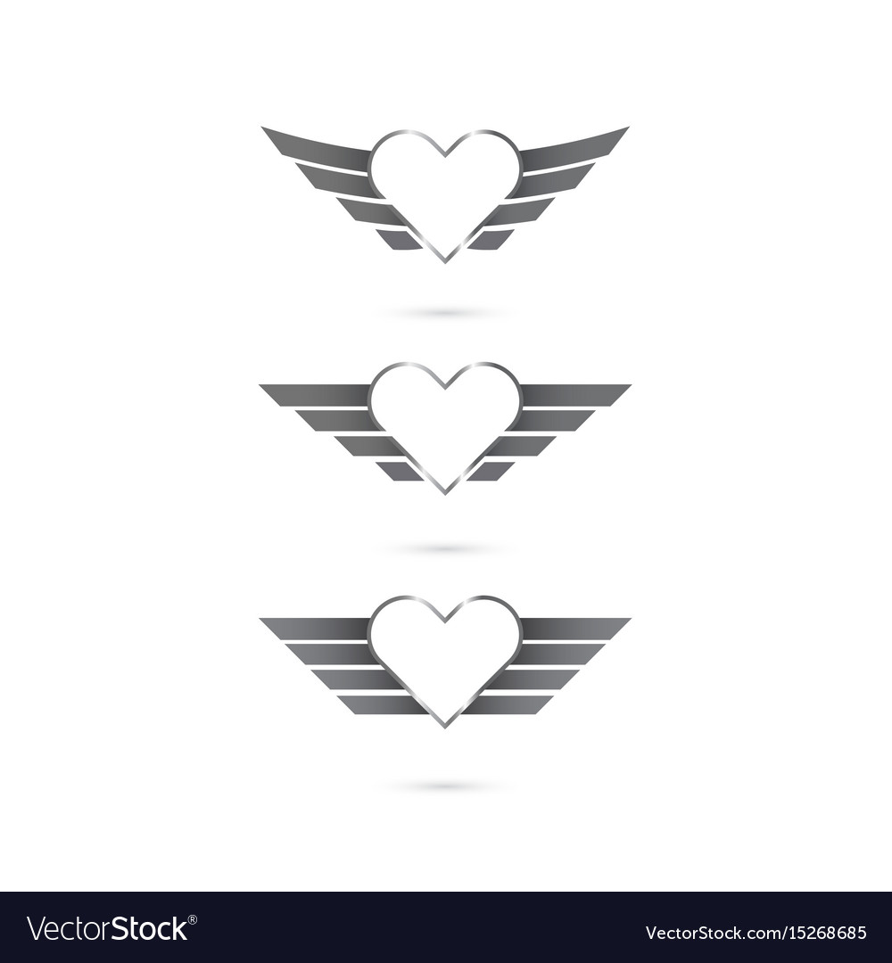 Heart logo with angel wings on background