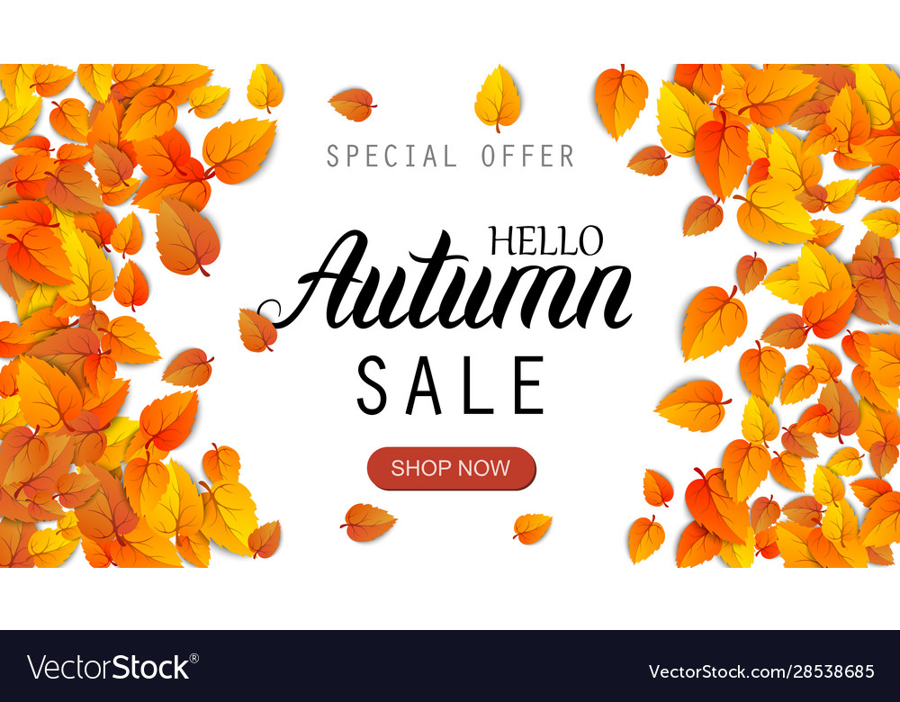 Hello autumn sale lettering banner special offer