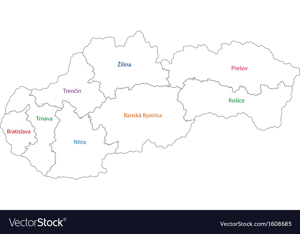 Outline Slovakia map Royalty Free Vector Image