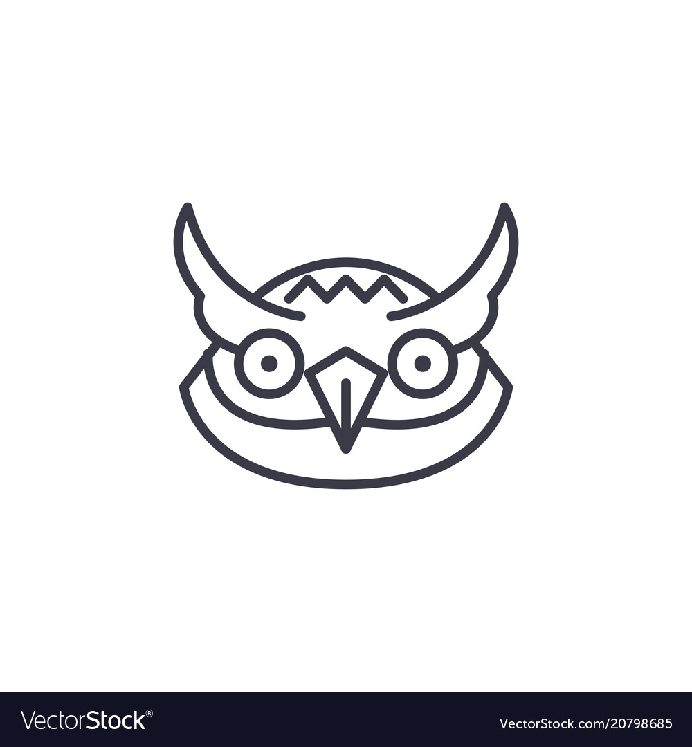 Owl head line icon sign on