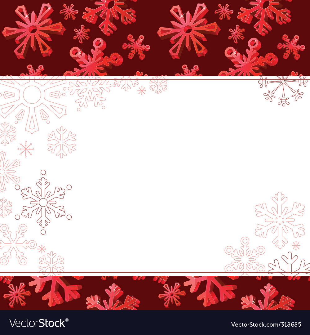 Red frame with big snowflakes