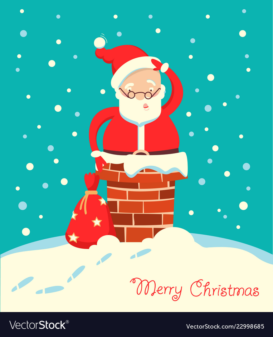Santa claus stuck in the chimney in the christmas