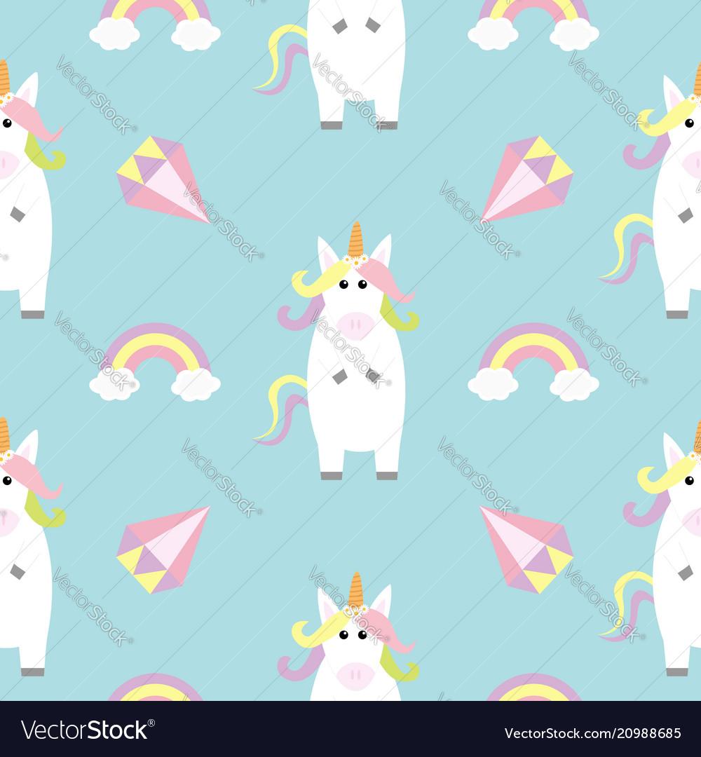 Unicorn standing kawaii head face rainbow diamond