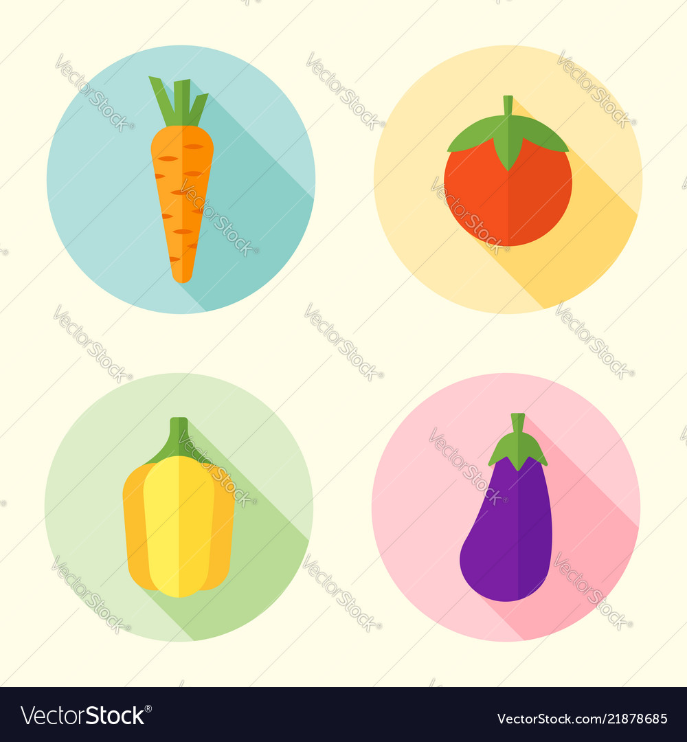 Vegetables flat style round icons with long shadow