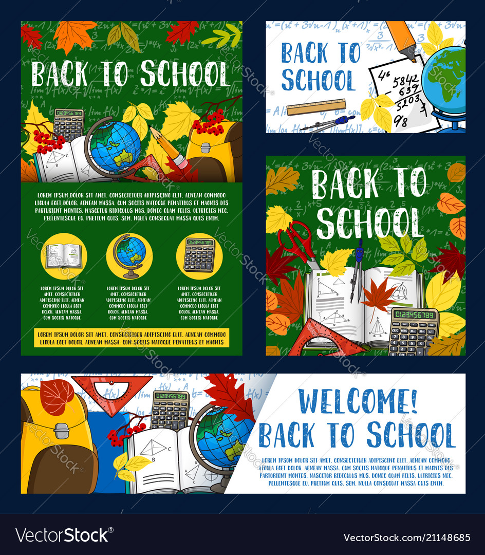 Welcome back to school greeting banner design vector image m4hsunfo