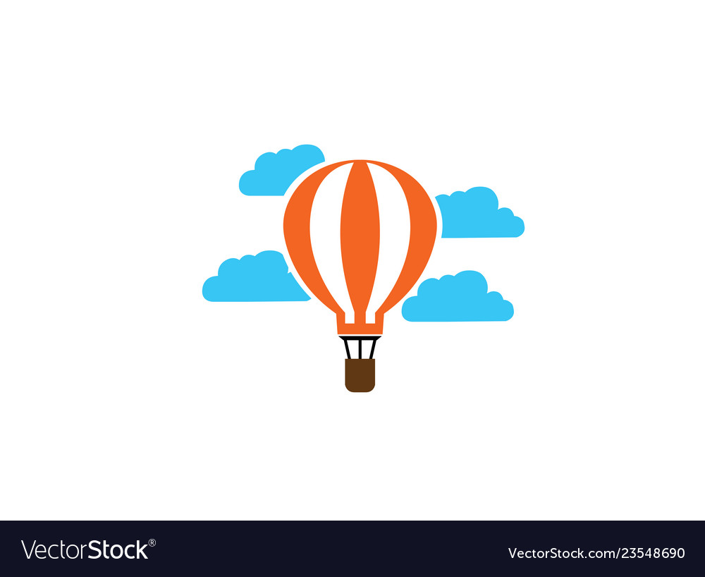 Airship flying balloon in clouds logo