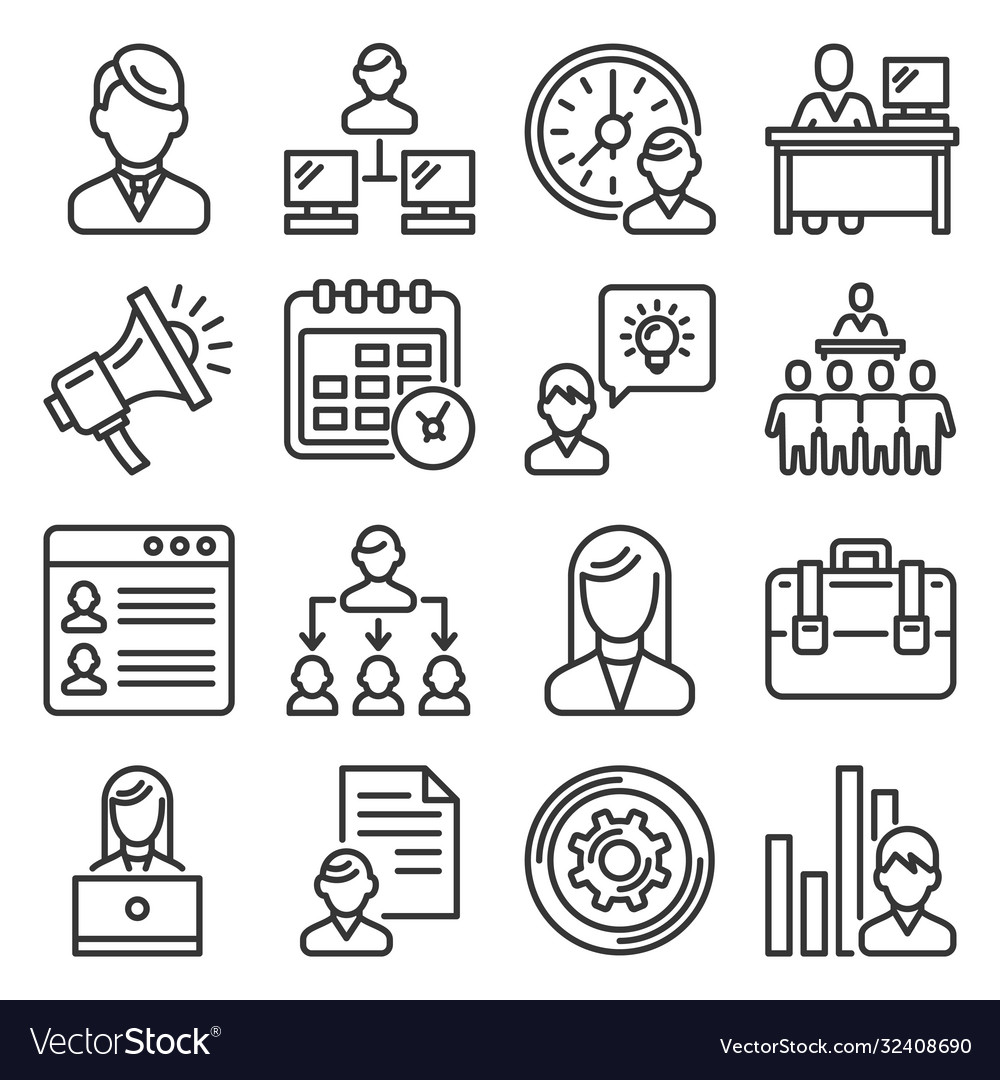 Business administrator and organization icons set