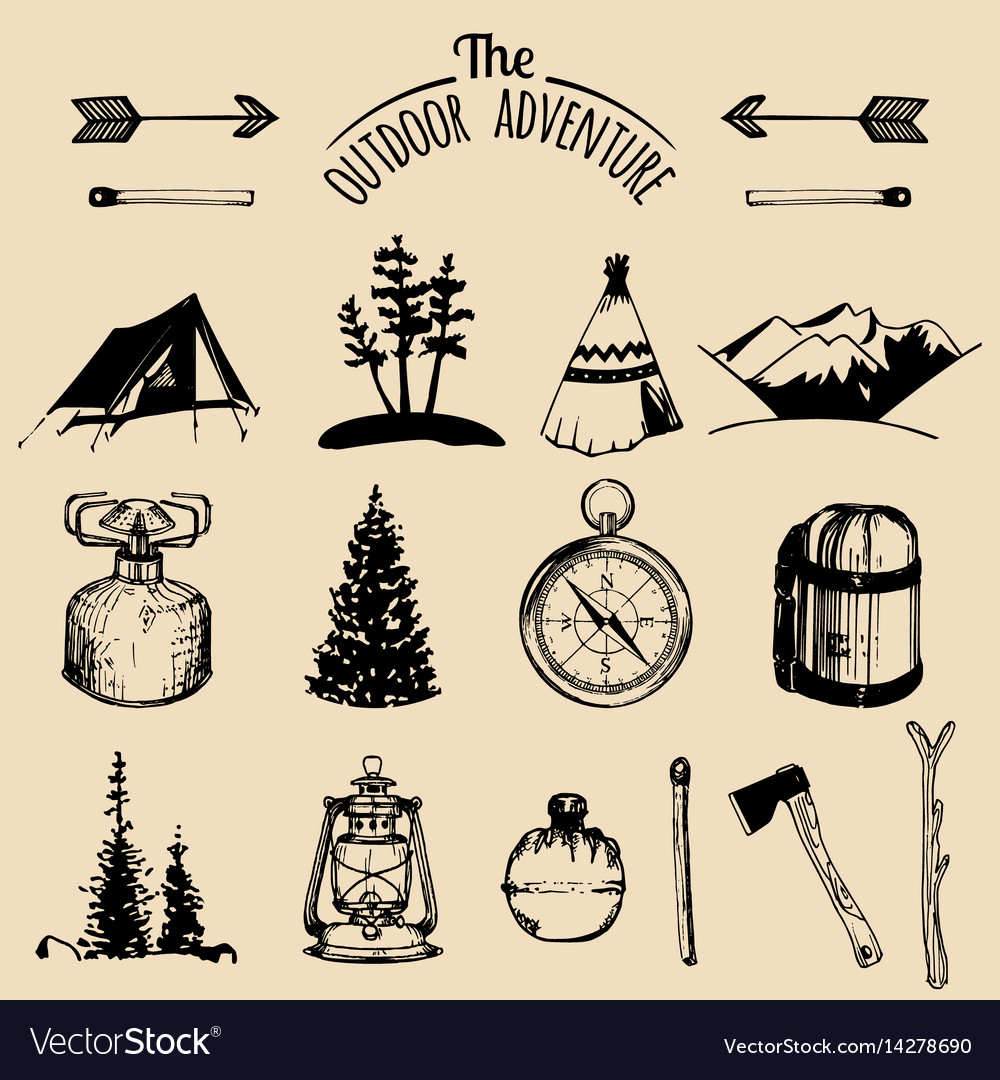 Camping sketched elements outdoor