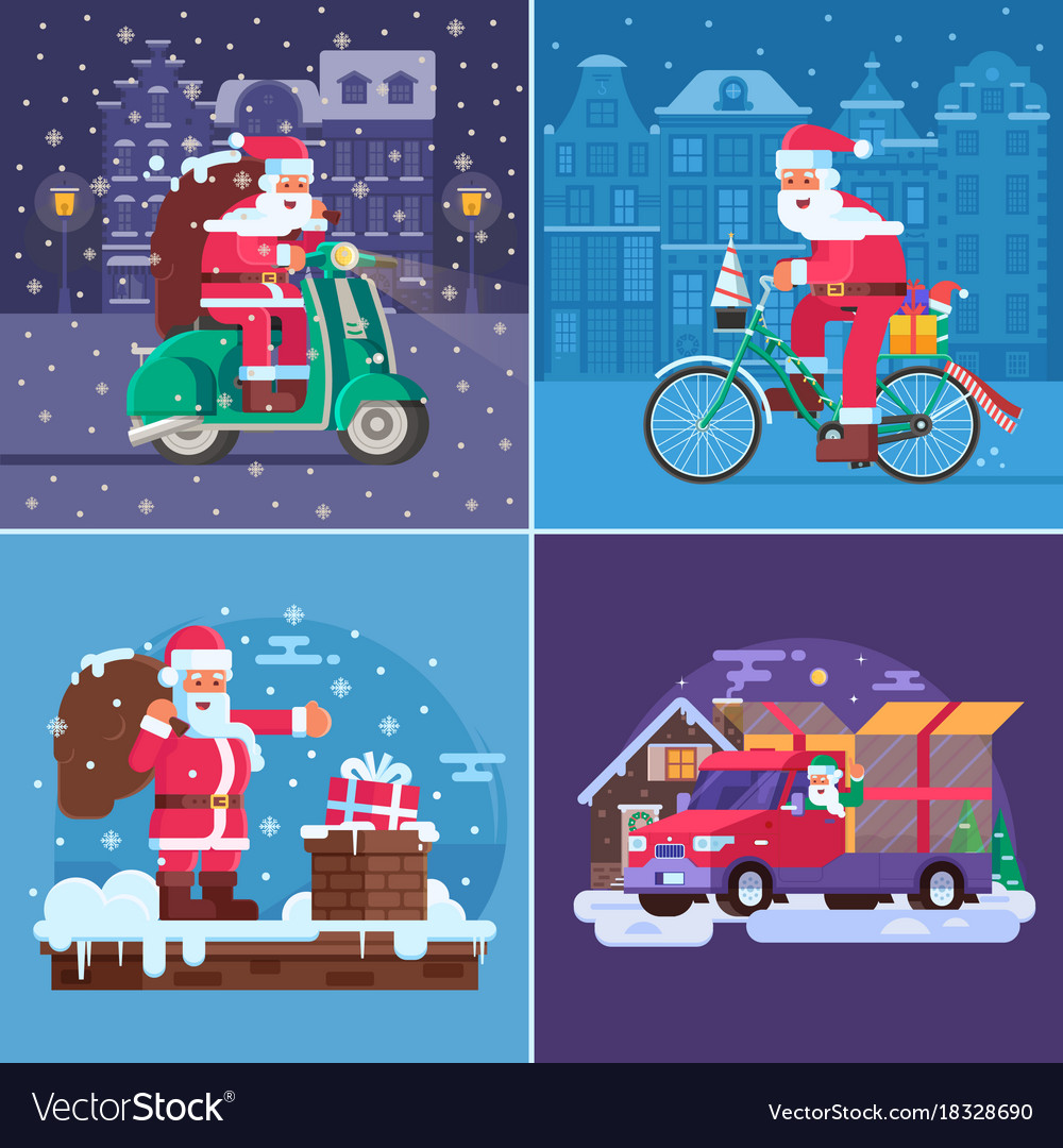 Christmas gift delivery concept scenes Royalty Free Vector