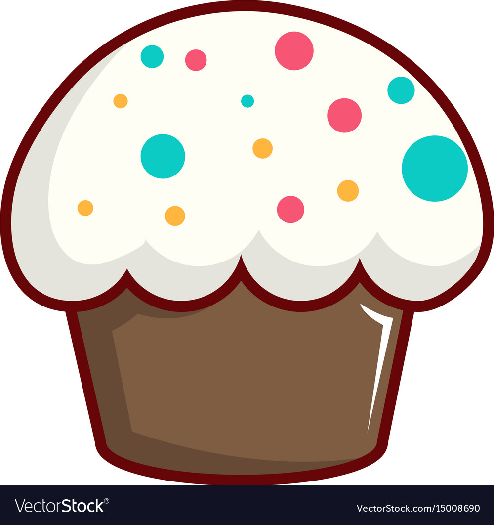 Cupcake garnished with sprinkles icon vector image