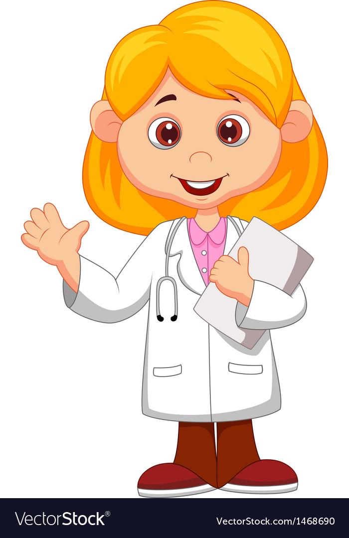 Cute little female doctor cartoon waving hand vector image