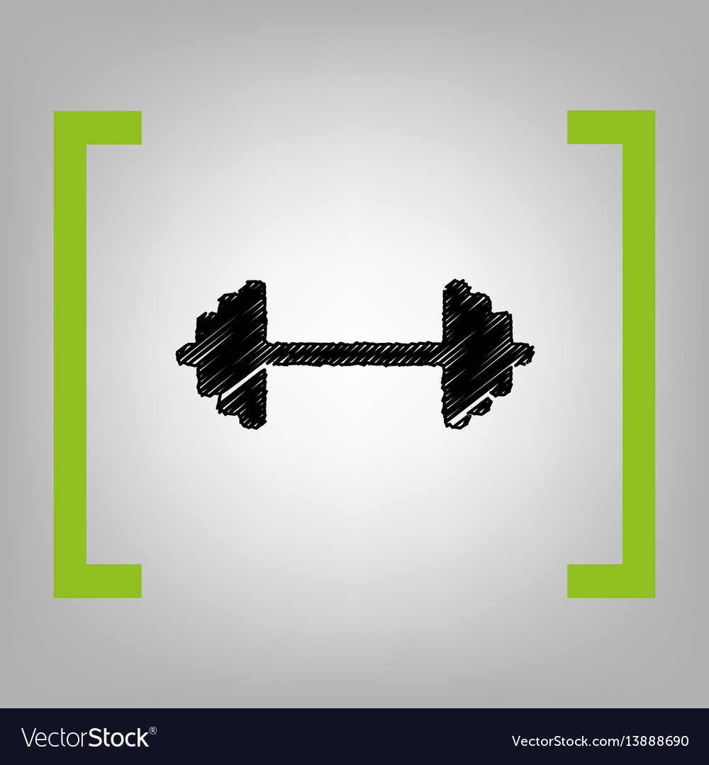 Dumbbell weights sign black scribble icon