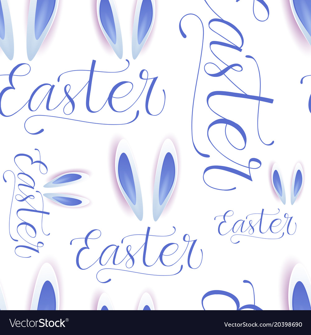 Easter seamless pattern with eggs bunny ears and