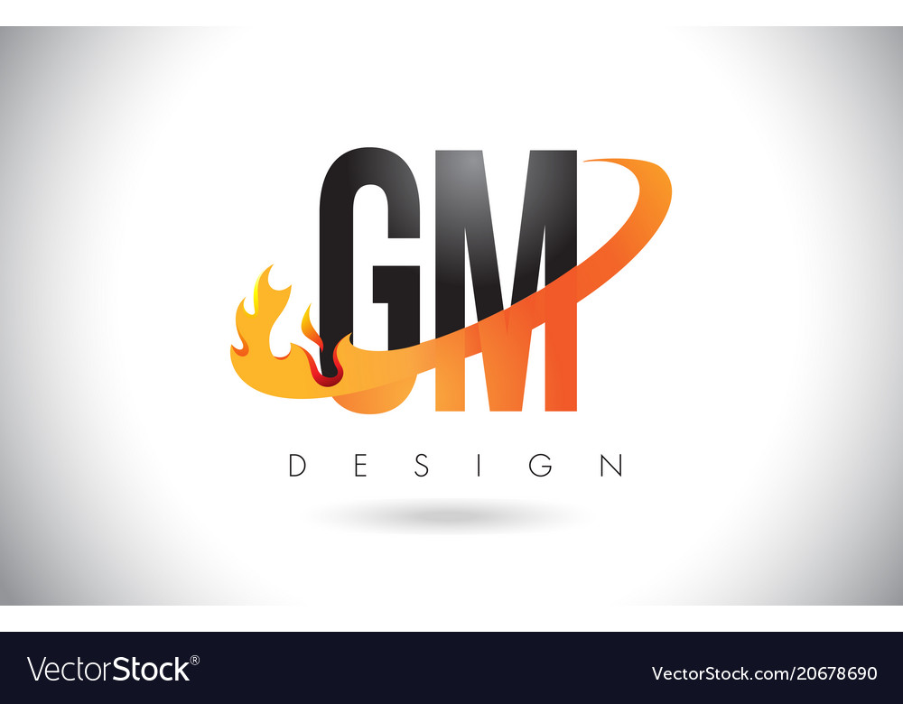 Gm G M Letter Logo With Fire Flames Design And Vector Image
