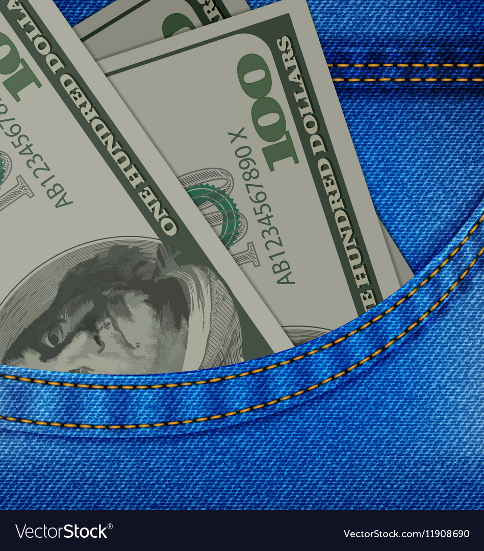 In the Front Pocket of Denim Trousers Have Dollars vector image