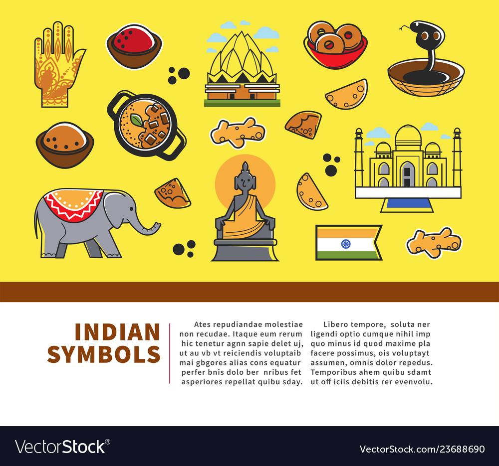 Indian culture symbols and india landmarks
