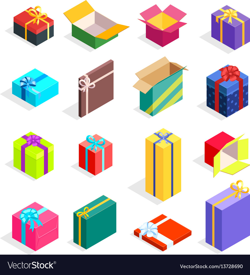 Isometric gift boxes set