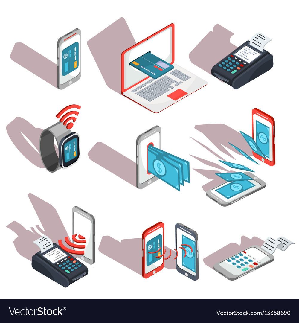 Isometric icons of mobile phones laptop