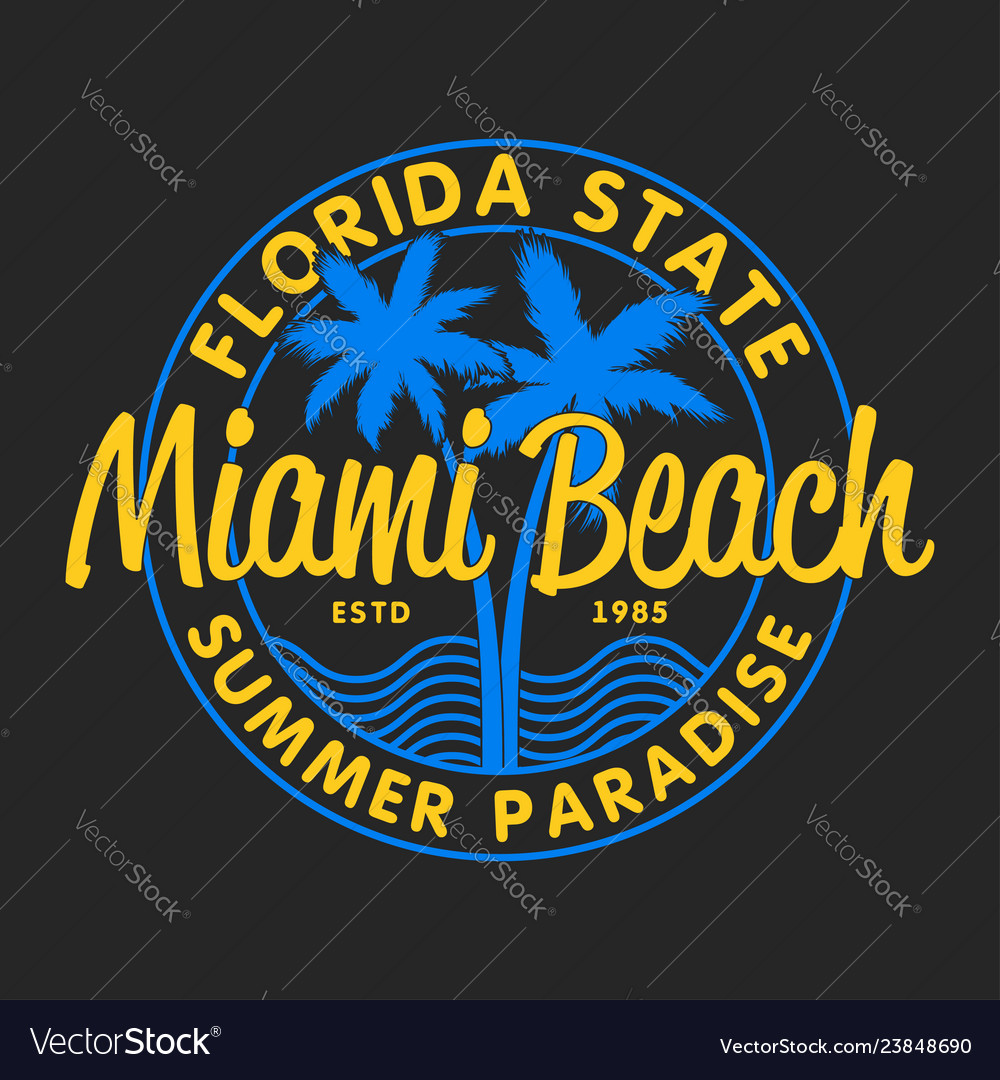 Miami beach florida - design t-shirts with palm