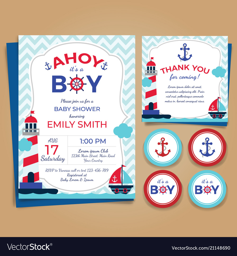 Nautical Theme Baby Shower Invitation Birthday Pa