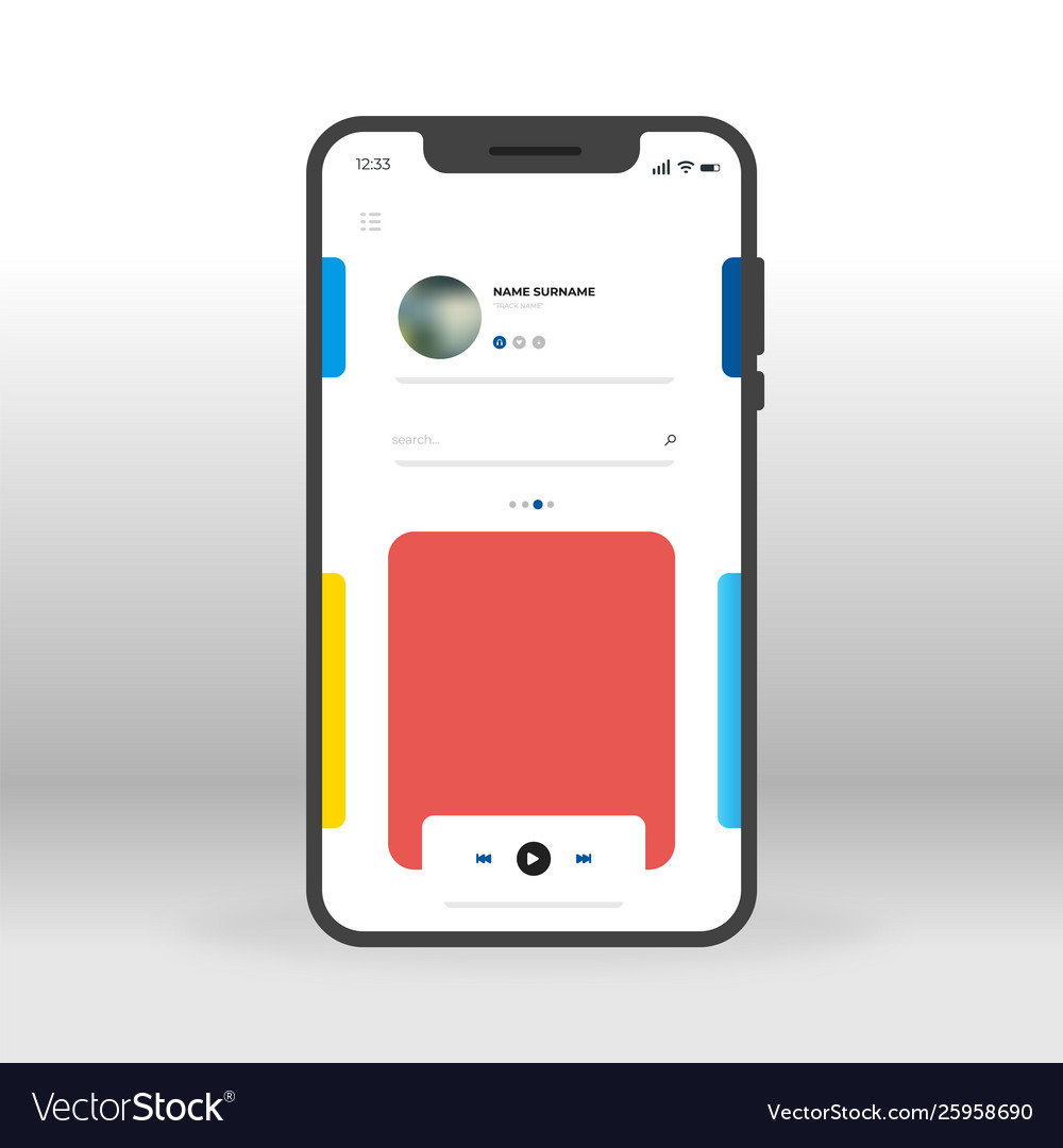 Red and blue music player ui ux gui screen for