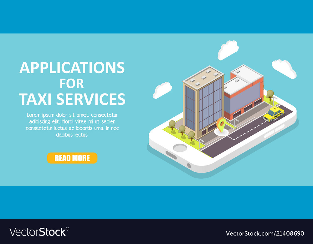 Taxi service apps isometric