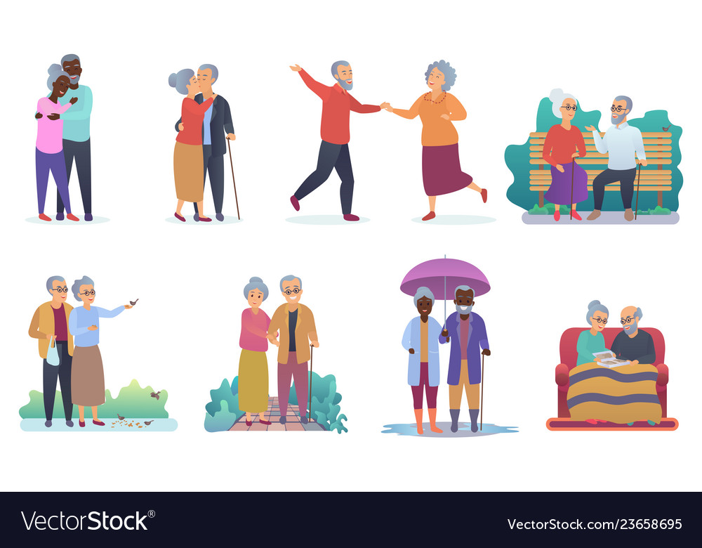 Active lifestyle old grandparents elderly people