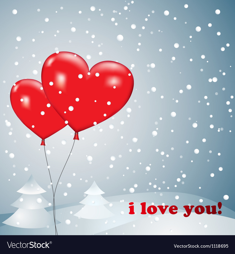 Balloons heart with snow vector image