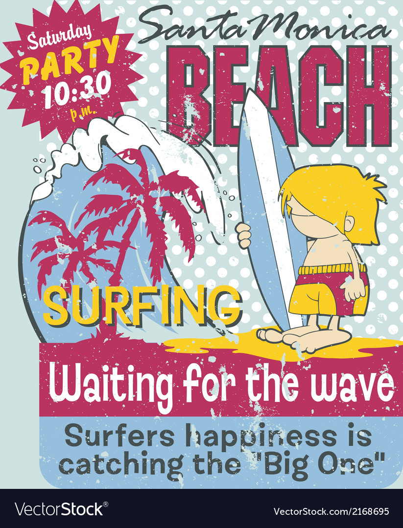California surfing boy vector image