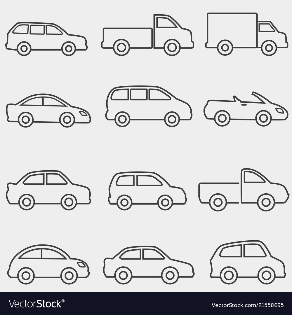 Cars vans and truck line icons