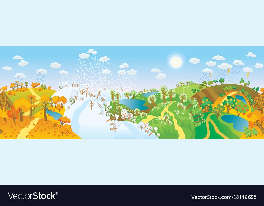 Change of seasons seasons in landscape vector image