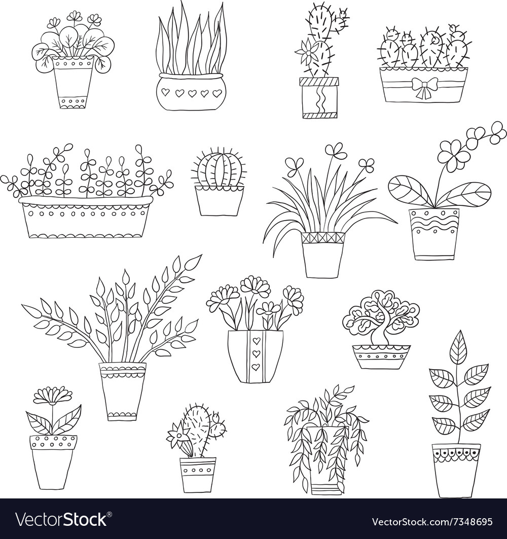 Cute hand drawn flowers in the pots royalty free vector cute hand drawn flowers in the pots vector image mightylinksfo