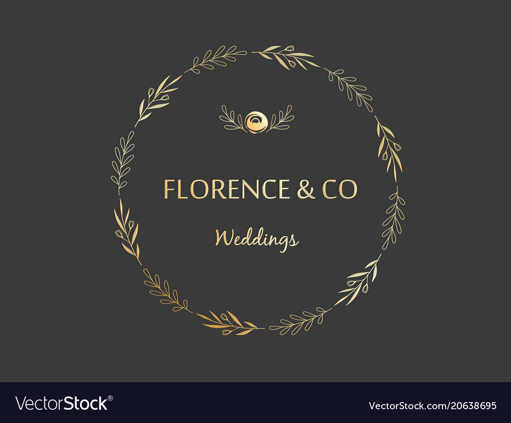 Golden floral wreath made branches leaves and