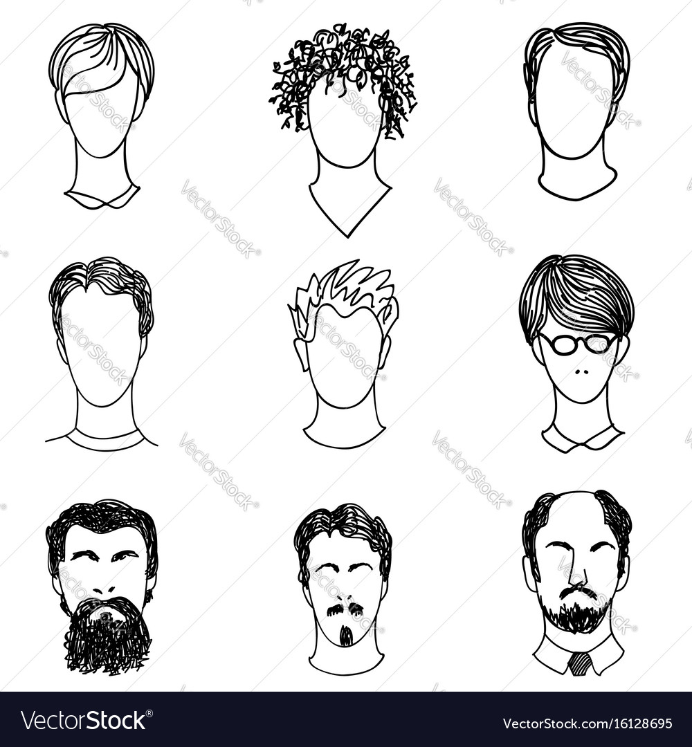 Super Men Face Various Hair Style Beard Man Avatar Vector Image Natural Hairstyles Runnerswayorg