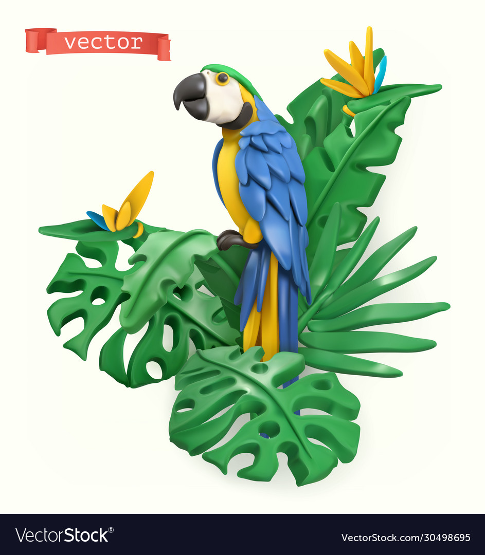 Parrot and tropical leaves summer time concept 3d