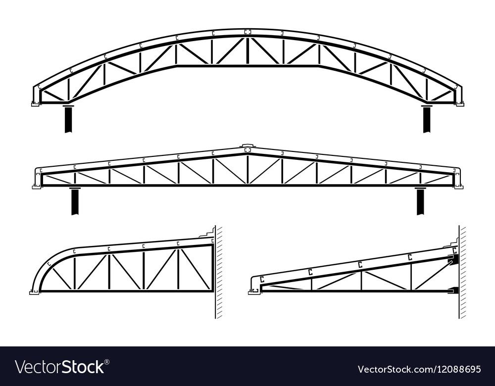 Roofing buildingsteel frameroof truss collection Vector Image