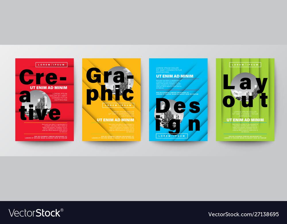 Set creative graphic design layout typography