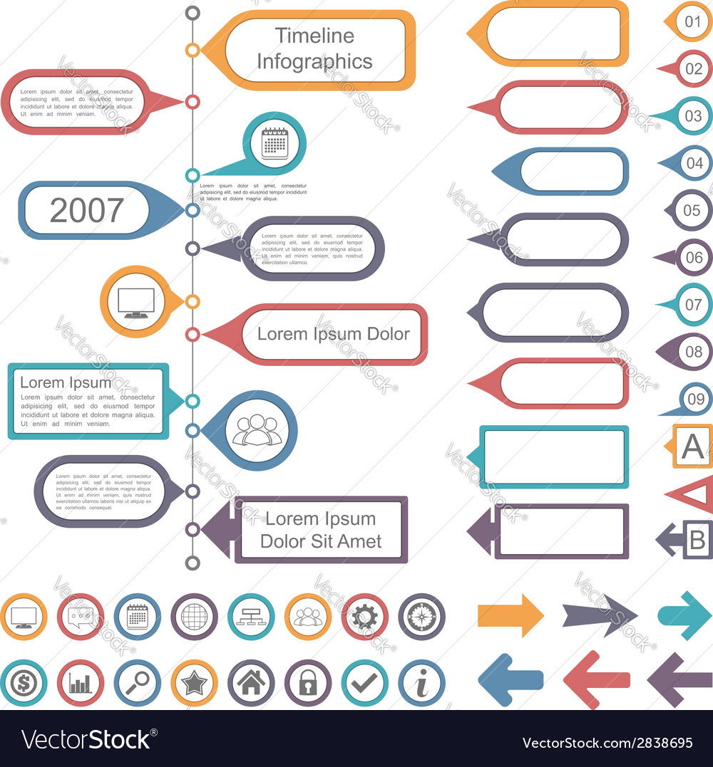 Timeline Infographics Elements