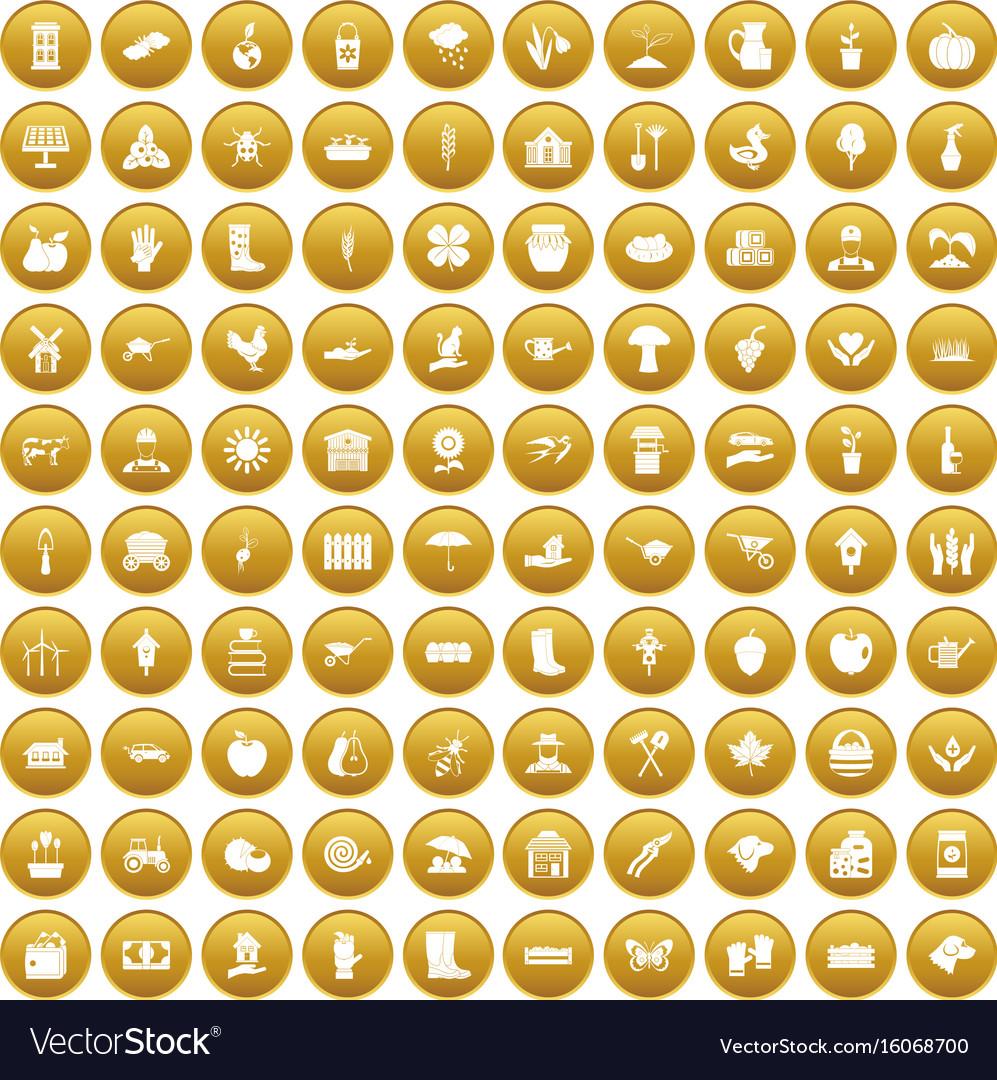 100 farm icons set gold