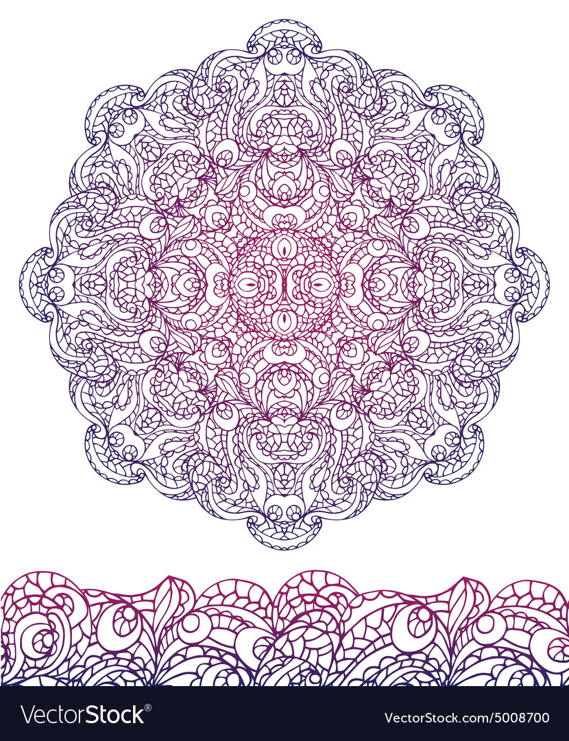 Abstract ethnic mandala seamless borderoutline