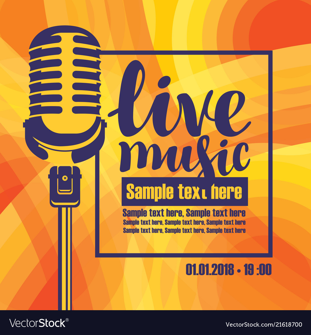 Banner for concert of live music with microphone