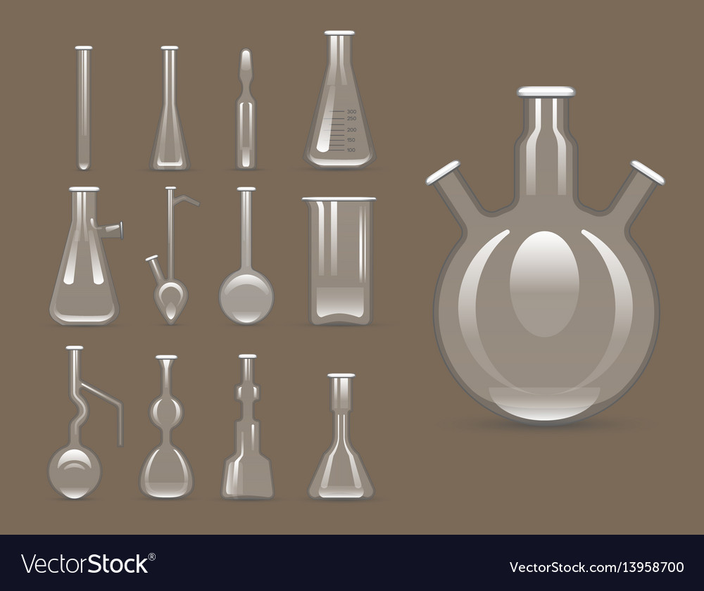 Chemical laboratory 3d lab flask glassware tube