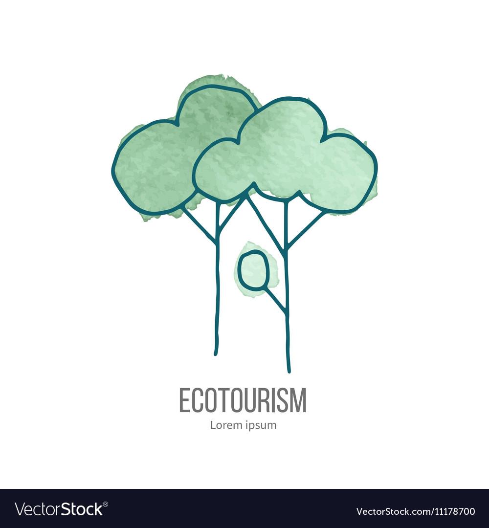 Ecotourism doodle on watercolor texture