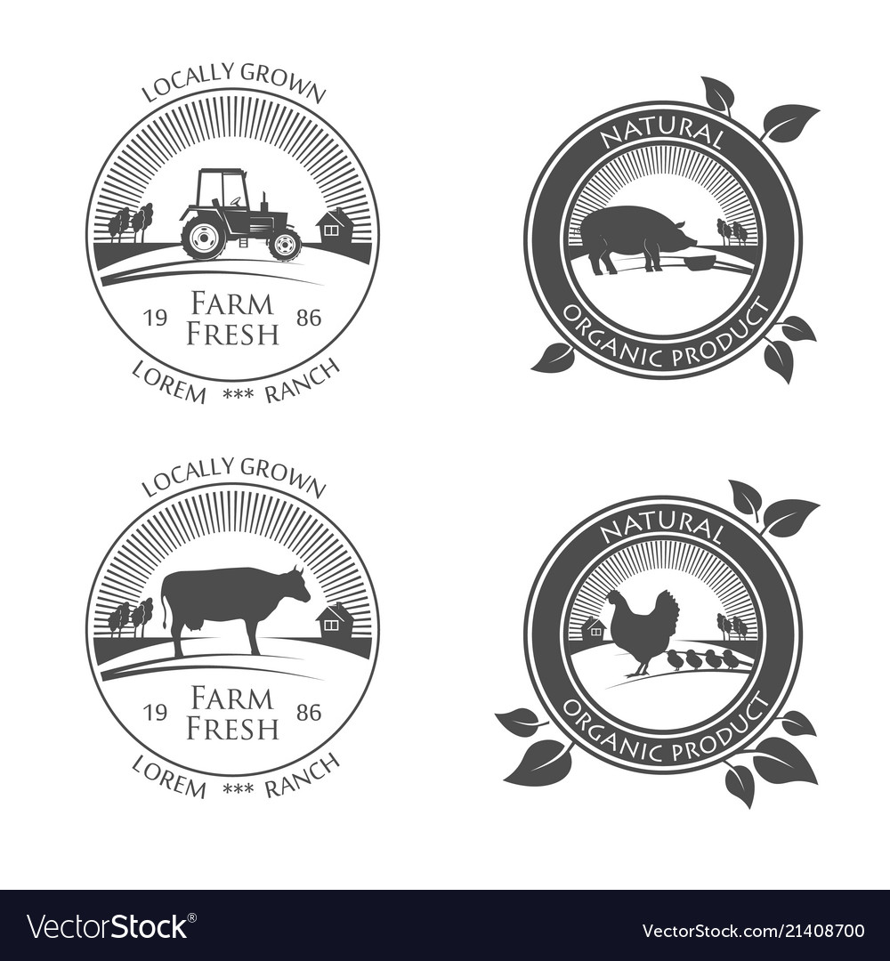 Fresh farm produce icons logo with picture