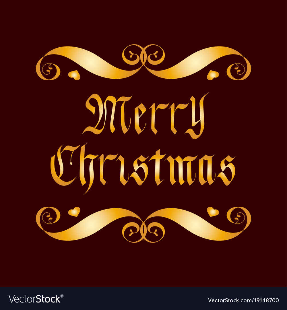 Golden merry christmas lettering badge over